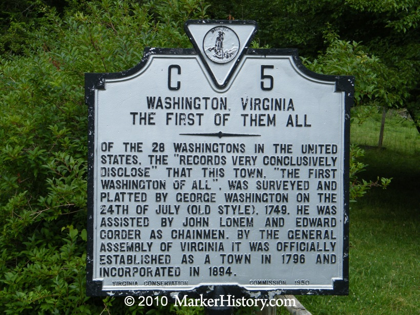 Washington Virginia The First Of Them All C 5 Marker History