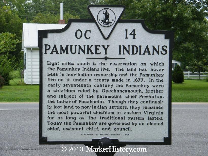 Pamunkey Indians OC-14 | Marker History