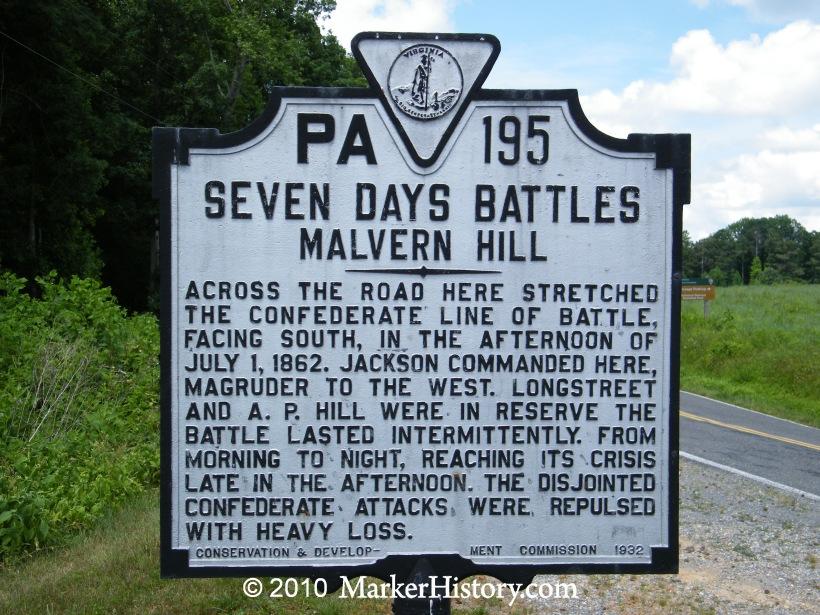 Seven Days Battles - Malvern Hill PA-195 | Marker History