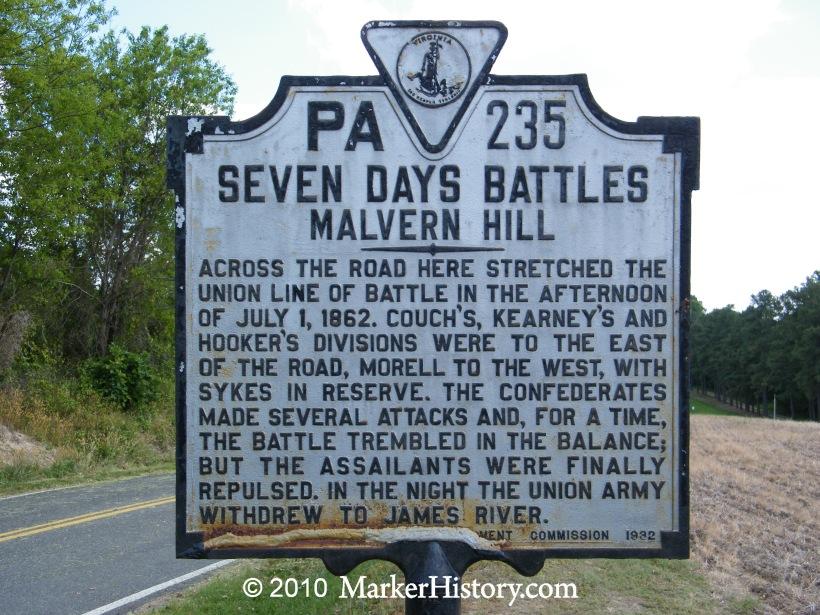 Seven Days Battles - Malvern Hill PA-235 | Marker History